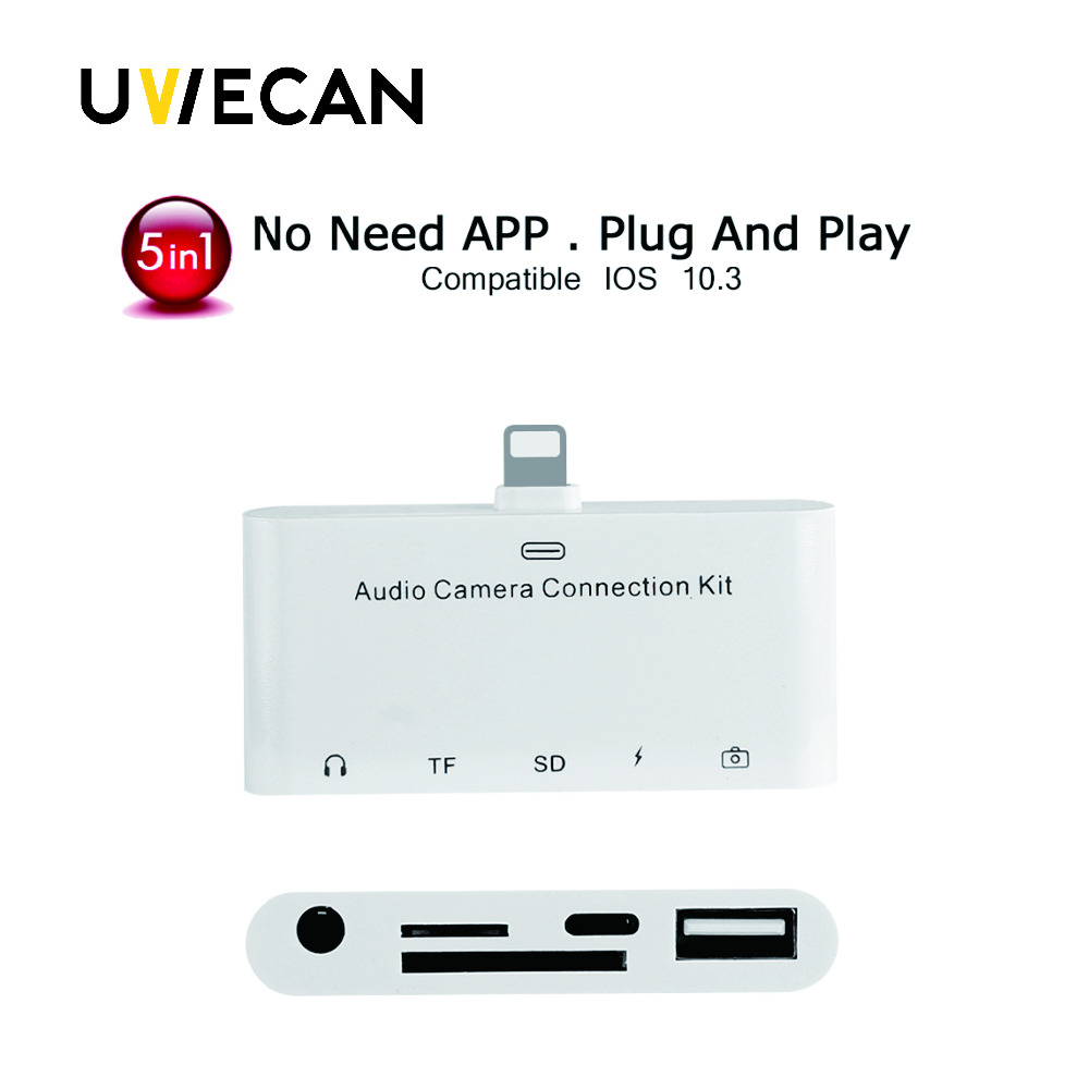 5X 5 in 1 Lightning Audio Camera reader adapter  8Pin to TF/SD Card Reader 3.5MM AUX Headphone Audio For iPhone 5 6 7 plus ssk scrm 060 multi in one usb 2 0 card reader for sd ms micro sd tf white