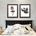 Мультфильм детская девочка настенная живопись плакаты и принты Лебедь плакат скандинавский настенное искусство для гостиной спальни дома...