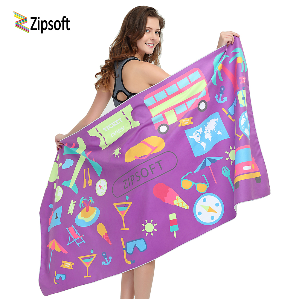 цена на Zipsoft Microfiber Quick Drying Beach Bath Swimming Outdoor Towels Bathing travel Toalla Pool Shower for Women Christmas Gifts