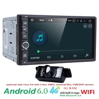 DVB-T Auto Radio Auto Multimedia Speler 2 Din Auto Stereo Bluetooth Android 6.0 Quad Core 1024*600 HD Touchscreen Wifi 4G USB GPS