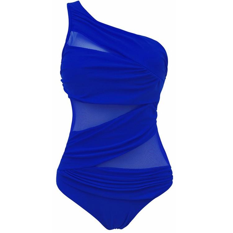 16 Newest Sexy Monokinis One Piece SwimSuit Women Lace Swimwear Mesh One Shoulder Bathing Suit Plus Size Set M~4XL 9