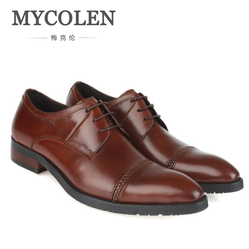 MYCOLEN Spring And Autumn Men's Business Casual Genuine Leather Men Shoes British Fashion Wedding Dress Shoes Chaussure Mariage 2017 men shoes fashion genuine leather oxfords shoes men s flats lace up men dress shoes spring autumn hombre wedding sapatos