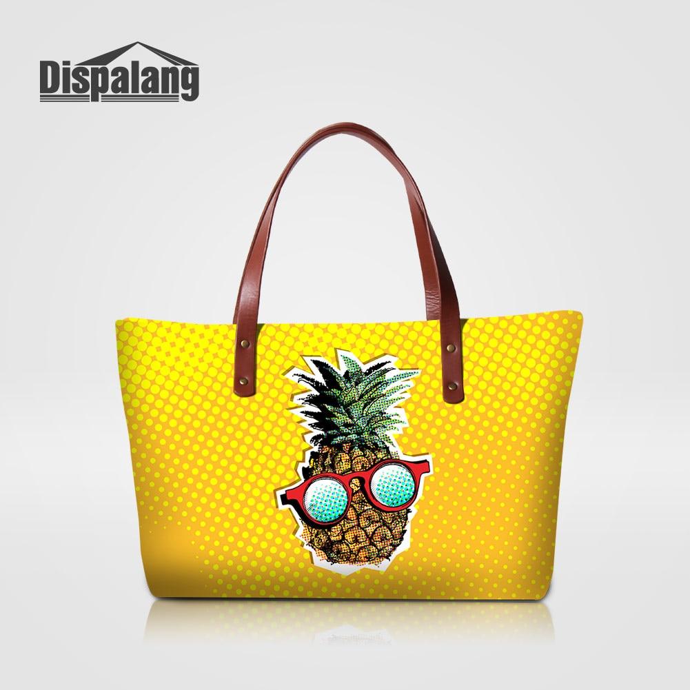 Dispalang Pretty Yellow Pineapple Women New Fashion Handbags Cartoon Fruit Designer Party Totes Bags Ladies Big Shopping Handbag