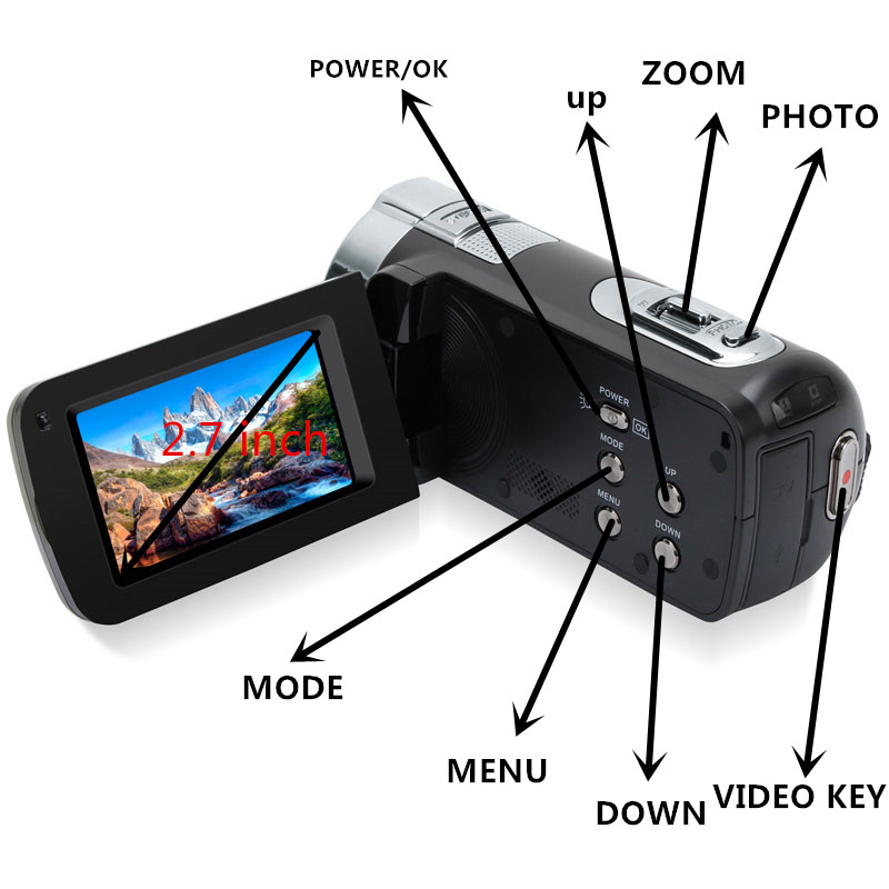 KaRue New 1080P HD 16x Digital Zoom Digital Video Camera Camcorder with 3.0 inch LCD Screen Max.24MP Support Face Detection 2