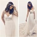 Chiffon Beach Wedding Dresses 2017 Rhinestones Beaded Sexy Romantic Bridal Dress Vestido De Noiva Praia Robe De Marigae