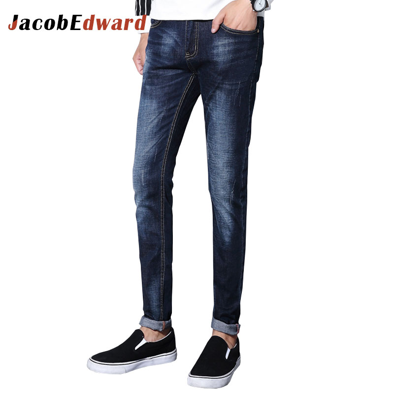 Fashion Men's Jeans 2017 Ripped For Men Full Length Straight Casual Brand Clothing Slim Fit
