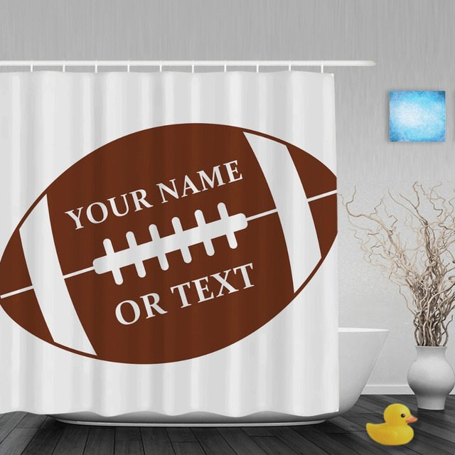 Personalized Sports Baseball Shower Curtain Custom Your Name Bathroom Curtains Polyester Waterproof Fabric With Hooks