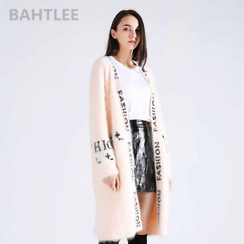 BAHTLEE winter women's angora rabbit long cardigans jumper mink cashmere knitting sweater looser keep warm letter Jacquard weave