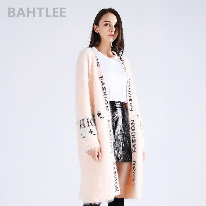 BAHTLEE 2018 d'hiver femmes angora de lapin long cardigans vison cachemire à tricoter chandail lâche garder au chaud lettre