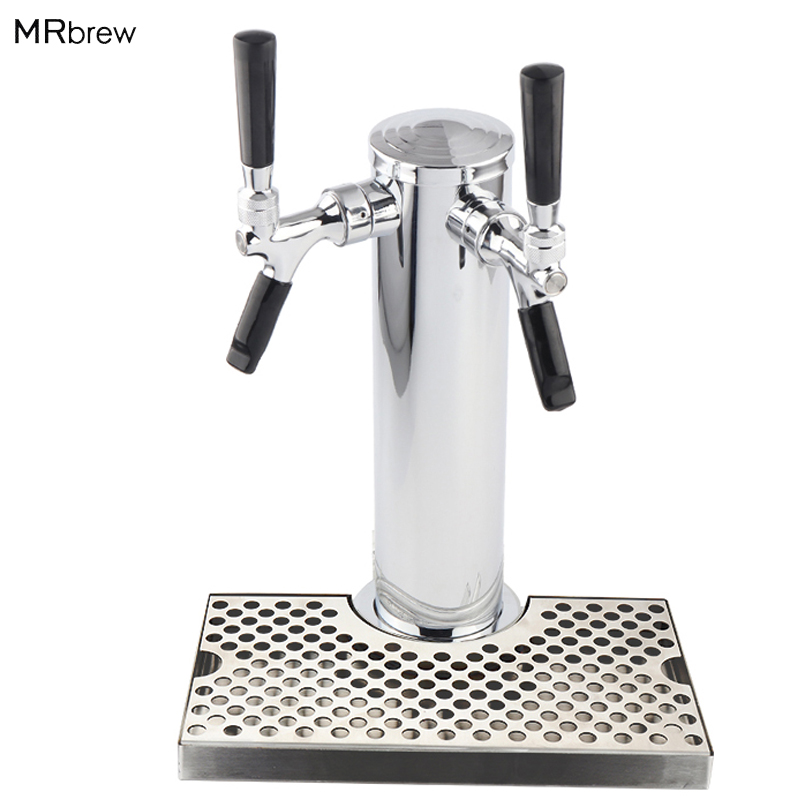 Double Tap Copper Chrome Draft Beer Tower with Stainless Steel Beer Drip Tray Double Tap Copper Chrome Draft Beer Tower with Stainless Steel Beer Drip Tray