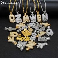 DIY A Z Custom Name 26 Letters Rope Chain Necklaces For Men Women Bling CZ volcano Lava alphabet Pendant Hip Hop Copper Jewelry