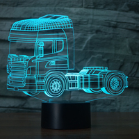 Led Heavy Truck Shapes Night Light 7 Changing Colors 3d Illusion Night Lamp Touch Switch USB