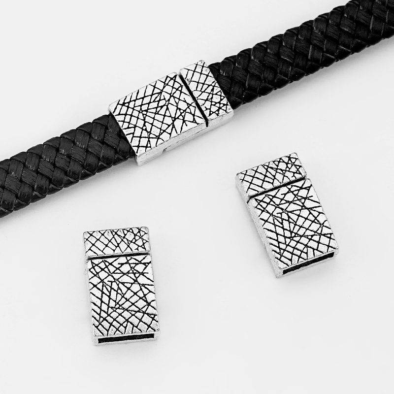 3pcs Antique Silver Carved Designs Flat Strong Magnetic Clasp For 10*2mm Flat Leather Cord Bracelet Making Jewelry Findings
