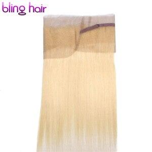 Image 3 - Bling Saç 360 Dantel Frontal Kapatma Brezilyalı Remy İnsan Saç Sarışın 613 Frontal Düz Saç Kapatma Ile Bebek Saç Ücretsiz parça