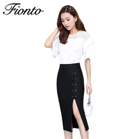 Women Skirts Solid Color Pencil Female Autumn Winter High Waist CottonVintage Split Thick Stretchy Skirts Lace