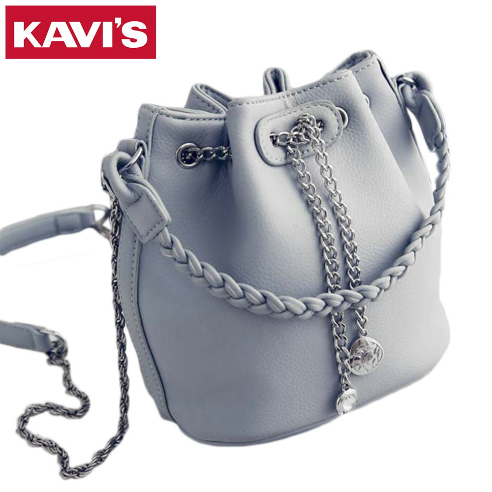 2017 new fashion women chain bucket bag korean style female woven handbag casual ladies shoulder Korean style fashion girl bag