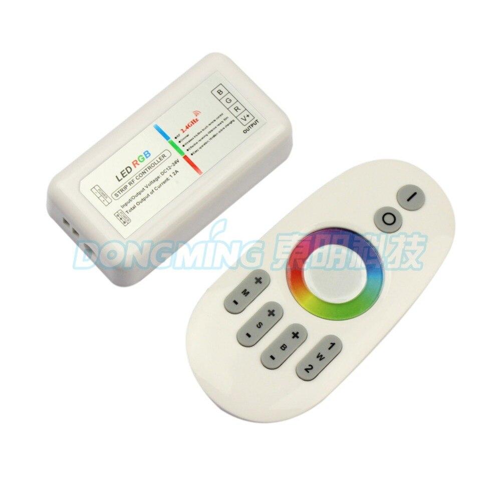 2.4G RGB LED kontroler Dotykový panel LED kontroler 12V / 24V 12A Bezdrátový 2.4G prstový dotykový kroužek Remote 288Watt pro LED RGB Strip