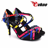 2017 cô gái Mới EvkooDance Giày Nữ vận chuyển chuyên nghiệp red Phi 8.5 8 cm 6 cm Khiêu Vũ salsa Phòng Khiêu giày Khiêu Vũ Latin cho phụ nữ Evkoo-451