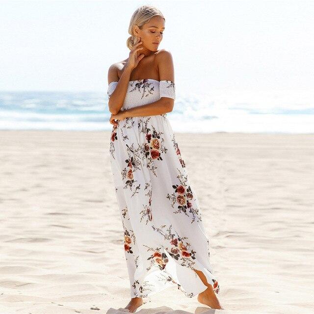 Stile Boho vestito lungo delle donne fuori dalla spalla abiti estivi da  spiaggia stampa floreale vintage 96d8e28a93d
