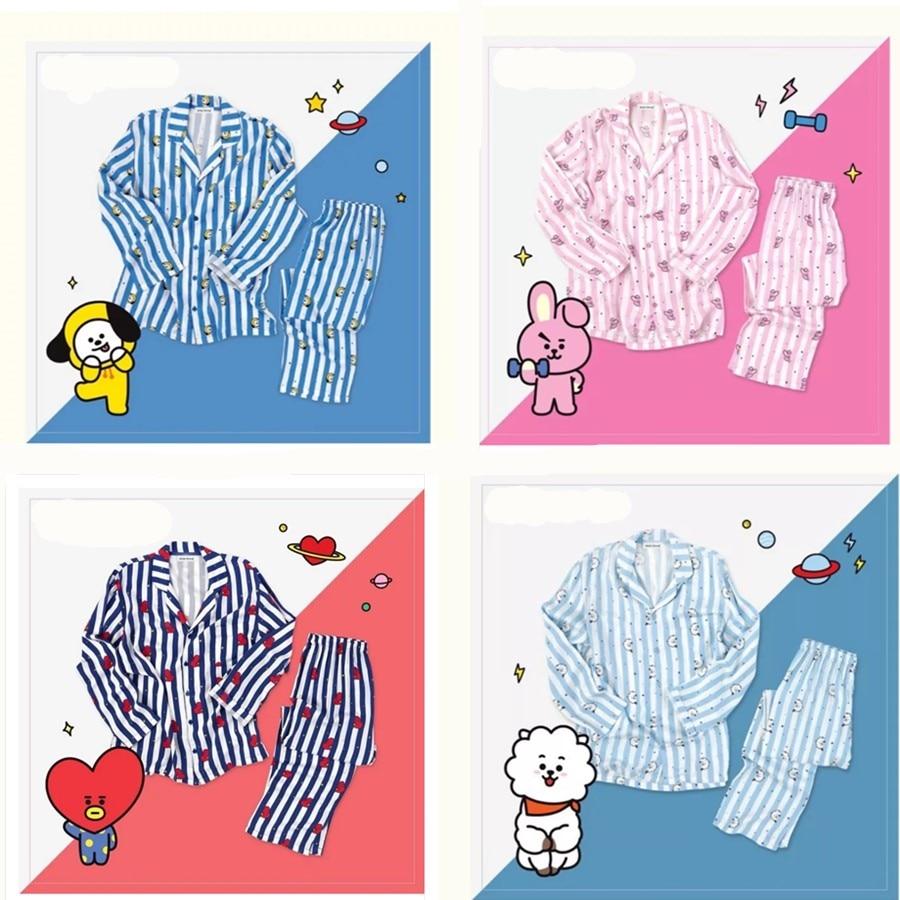 Kpop hause für BTS Bangtan Boys BT21 cartoon version v jimin Gleiche Harajuku pyjamas langarm hemd nighty männer frauen bedgown