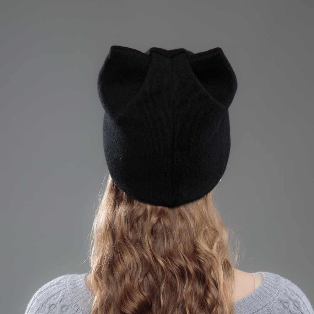 Novo design feminino beanies skullies princesa menina bonito outono inverno chapéu boné com orelhas de gato strass brilhante marca moda beanies