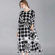4xl Plus Size Cotton Dresses Women Spring 2019 Lady Casual Loose Extra Large Black Dot Print Work Party Elegant Dress Summer 3XL