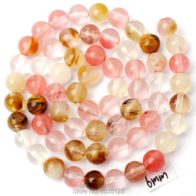 Free Shipping 6mm Mixed Color Watermelon Crystal Round Shape Gems Loose Beads Strand 15  ...