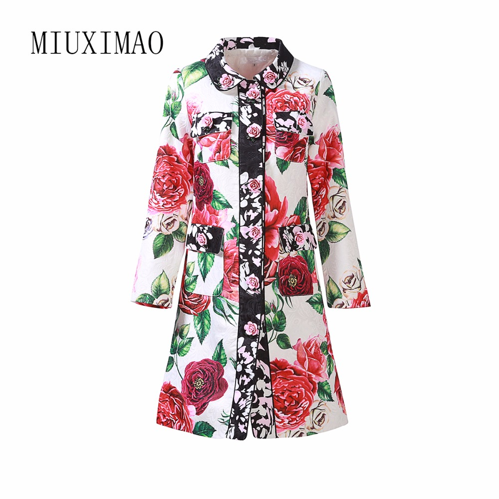Custom Plus Size Dress 2018 Autumn New Arrival A-Line Turn-Down Collar Full Sleeve Single Breasted Floral Print   Trench   Women