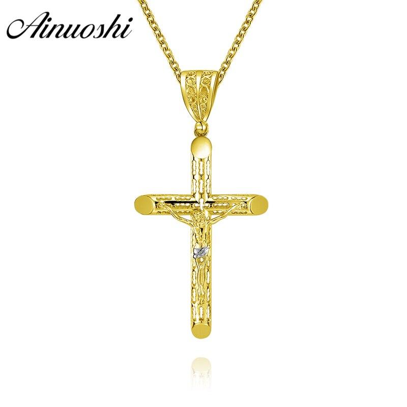 Latest Collection Of Ladies Yellow Gold Diamond Cross Jesus Charm Pendant Diamond