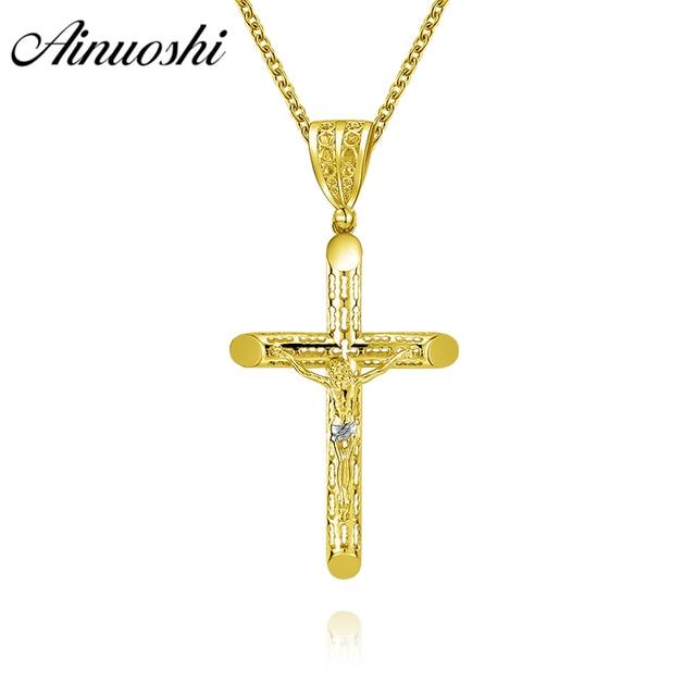 AINUOSHI 10K Solid Yellow Gold Christian Pendant Anniversary Birthday Party  Church Women Men Jewelry 4.7g Jesus Cross Pendant 67b92f8906