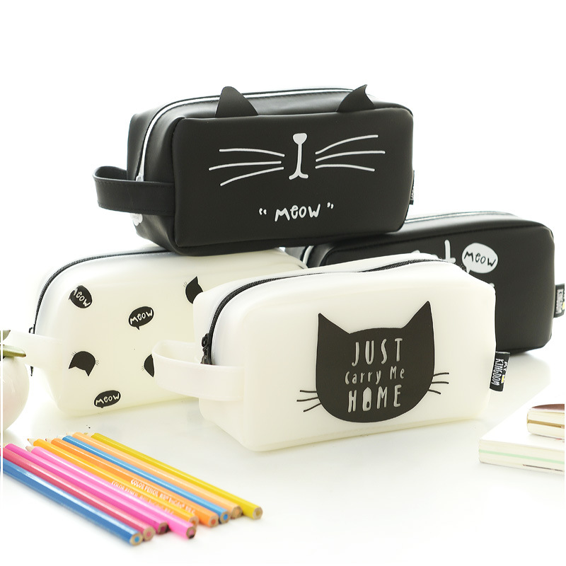 large capacity cat style rubber pencil bag pencil case children school pencil bag cosmetic bags
