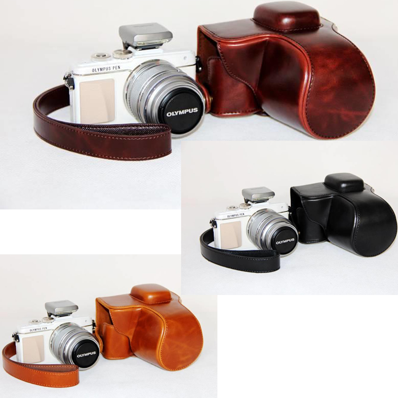 PU leather Camera Bag Case Cover Pouch for OLYMPUS Pen E-PL7 E-PL8 EPL7 EPL8 with 14-42mm Lens With Strap Protective Case