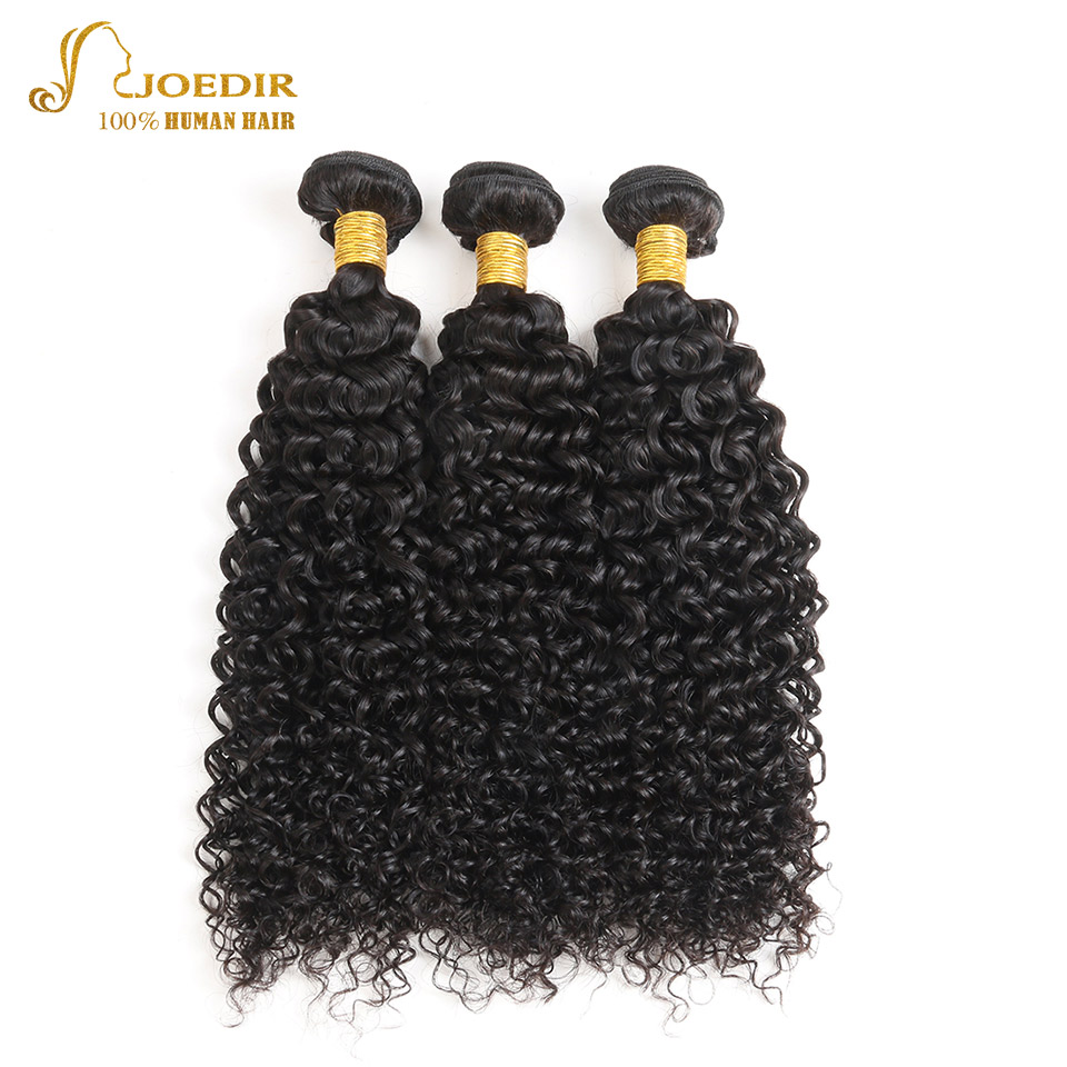 Joedir Pre-Colored Human Hair Weave Kinky Curly Brazilian Hair 3 Bundles 10-26 Inches Non-Remy Hair #1B Natural Color