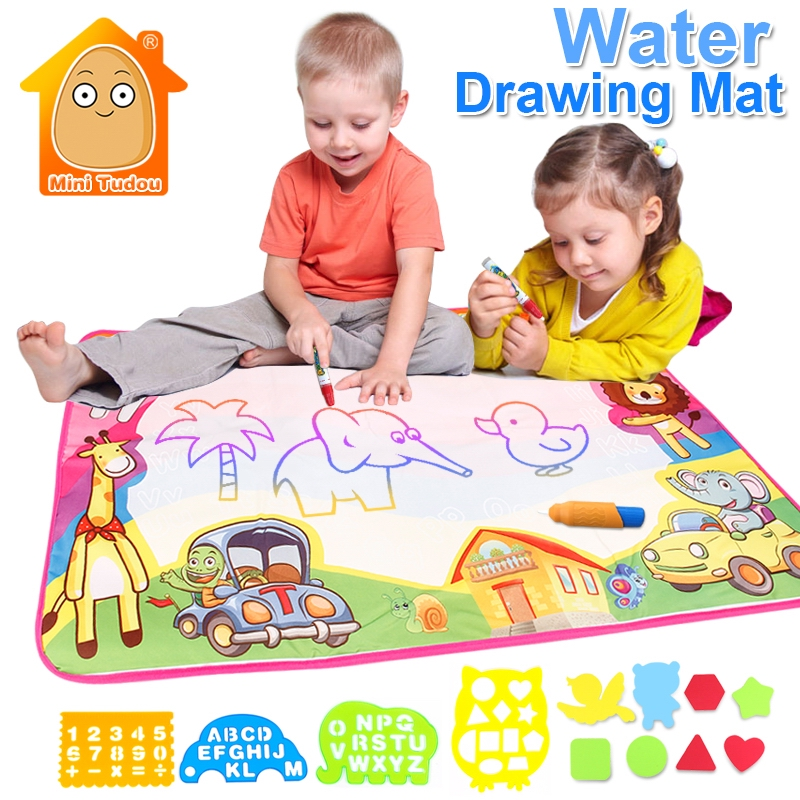 цена 86*57CM Magic Water Drawing Mat Doodle Water Pen Drawing Board Coloring Water Painting Games Educational Toys Kids Crafts онлайн в 2017 году