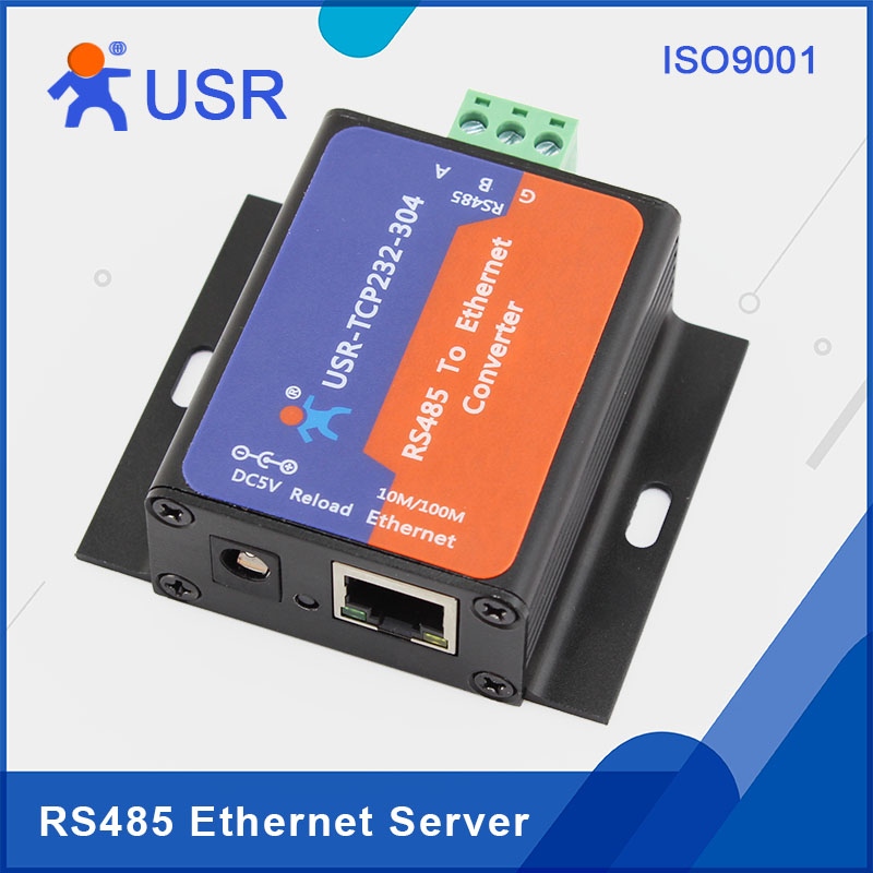 USR-TCP232-304 RS485 to TCP IP Converters with DNS Built-in Webpage 2Pcs/Lot q061 usr tcp232 304 rs485 to ethernet server serial to tcp ip converter module with built in webpage dhcp dns httpd supported