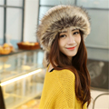Female Caps For Autumn&Winter Hat Thick Warm Vintage Casual caps Faux Fur Neckrings Function Soft Felt Wool Rabbit Knitted Hat