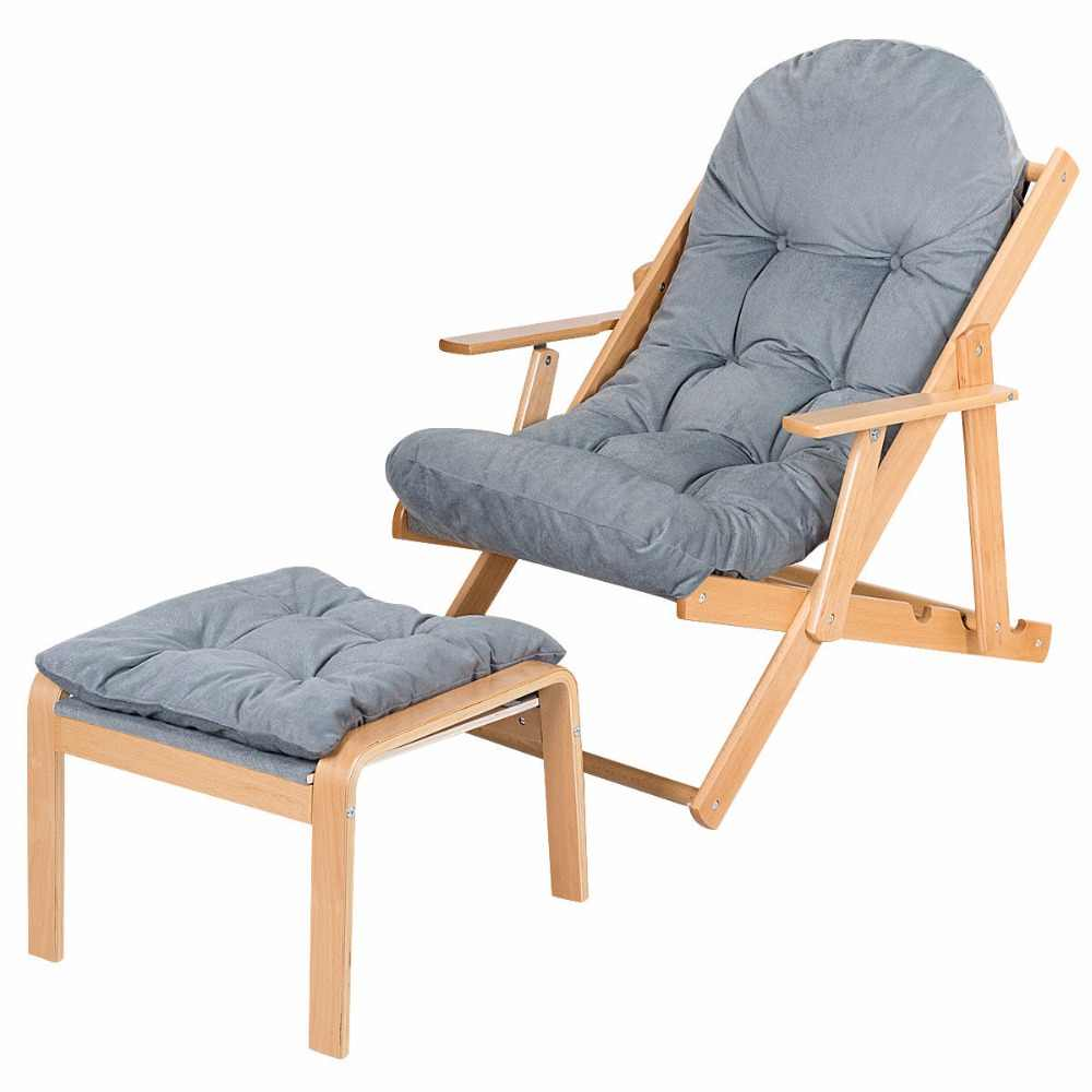 Astonishing Giantex Folding Recliner Adjustable Lounge Chair Padded Armchair Patio Deck W Ottoman Home Furniture Hw59353 Machost Co Dining Chair Design Ideas Machostcouk