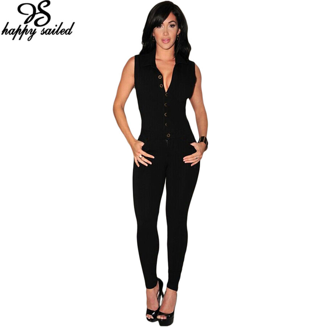 Happy Sailed High quality Black Sleeveless Jumpsuit Rompers Macacao Overalls Long Pants Fashion Summer Autumn Women Clothes 6995