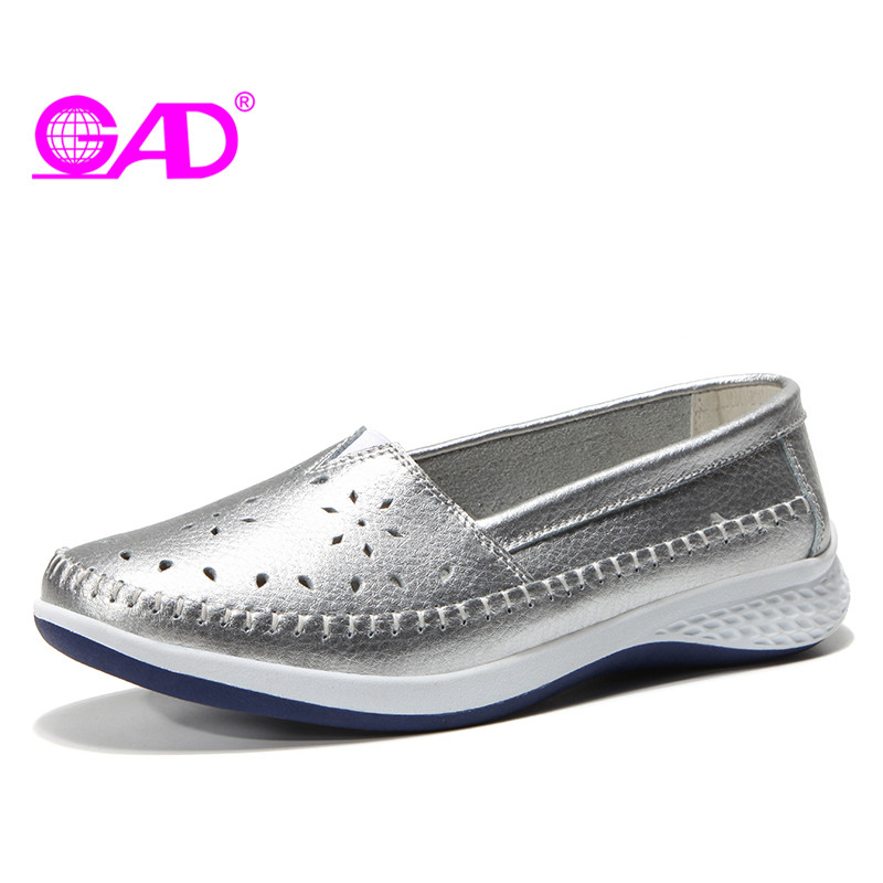 GAD 2018 New Summer Women Leather Loafers Fashion Ballet Flats Slip-on Ladies Flat Shoes Breathable Hole Shoes Large Size 36-42 women shoes 2018 new footwear slip on ballet hollow genuine breathable soft flat shoes women comfortable loafers shoes ladies
