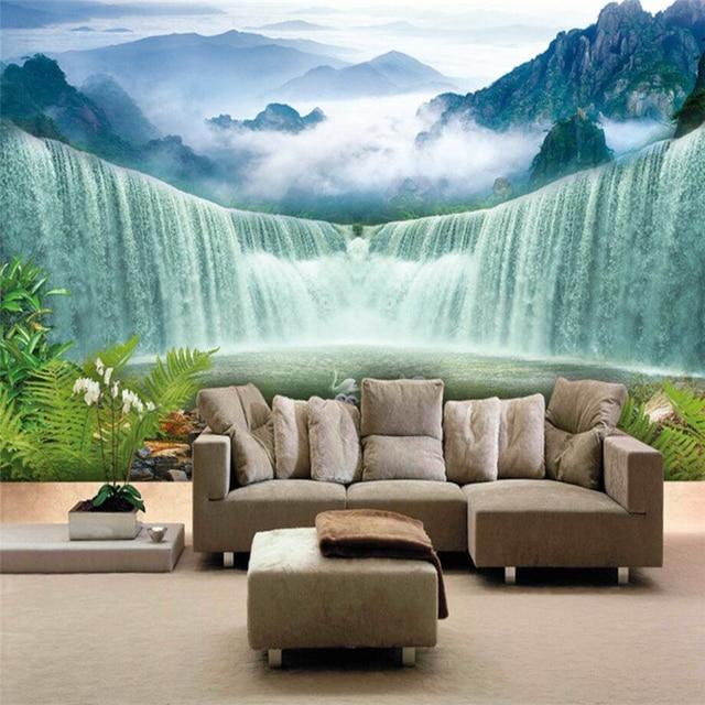Decorazioni Per Pareti Camera Da Letto.Beibehang Custom Sfondi Cascate Cascate Acquerello Tv Sfondo