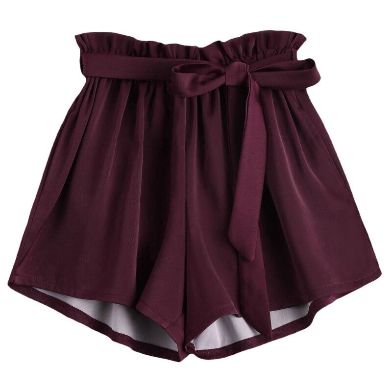 2018 New Women High Waist   Shorts   Women Sexy Smocked Belted Beach Summer   Shorts   Loose Elastic Waist Streetwear Wide Leg   Shorts