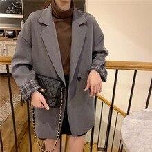 Лучший!  Корейское пальто женщин с длинным рукавом Ulzzang двубортный сплошной два цвета 2019 весна осень