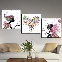 Холст, художественные принты, настенные картины с бабочкой и сердцем, картины для спальни, 3 предмета, абстрактная девушка, любовь, современн...