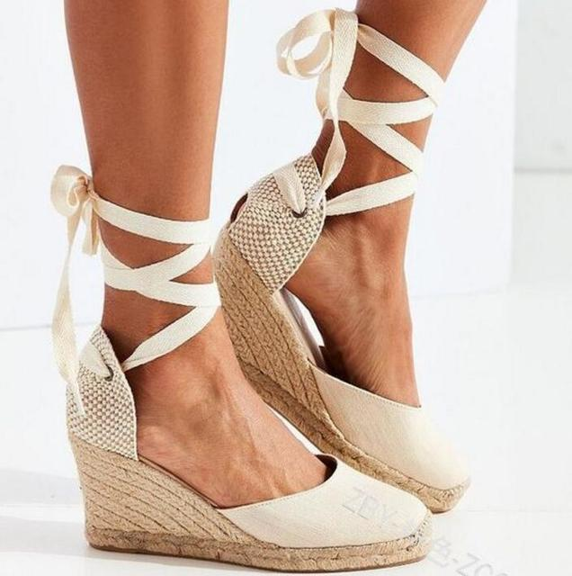 feeb9624 2018 los tacones altos de las mujeres sandalias de cuña sandalias de correa  de tobillo lona