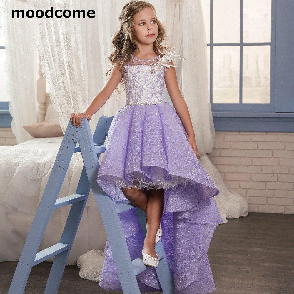 2019 дешевые цветок платья для девочек кружева по колено с круглым вырезом Кристалл серьги бусины с блестками платье для первого причастия пл