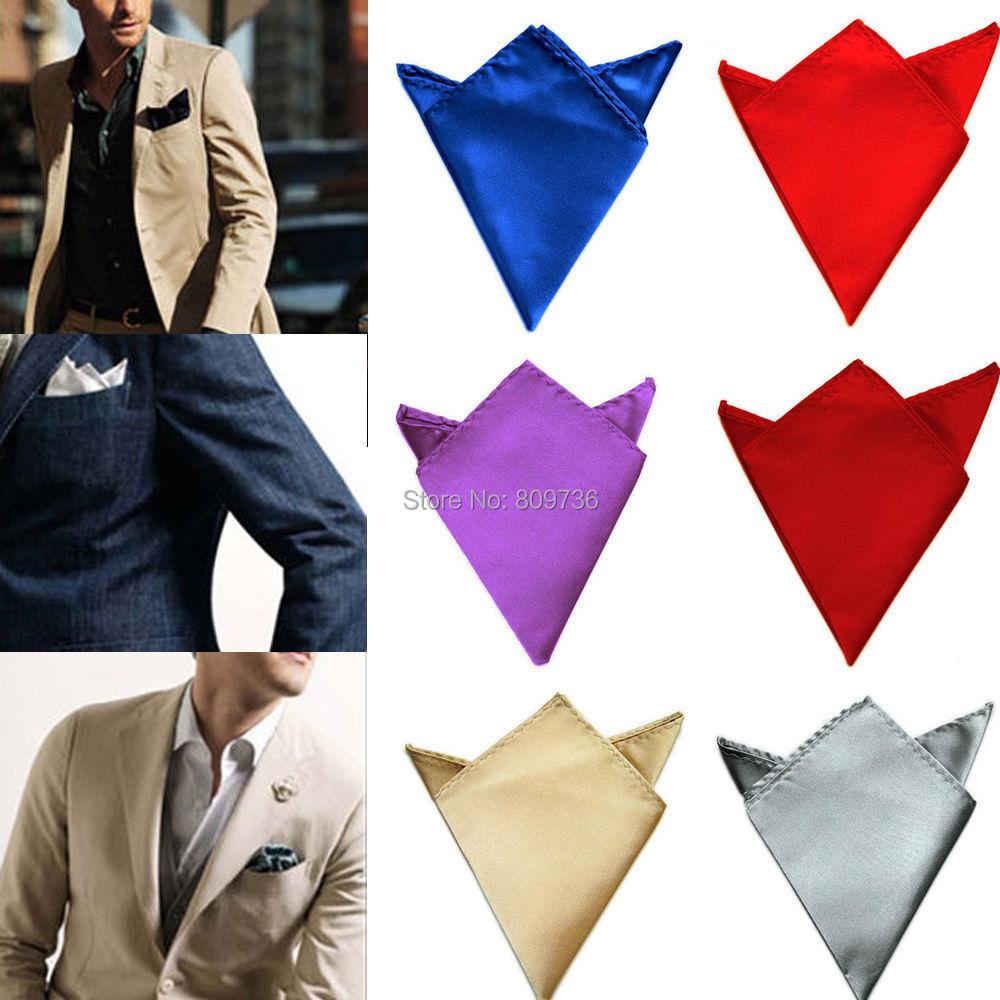Mens jacket pocket handkerchief - Mens Satin Silk Pocket Square Hankerchief Hankie Wedding Formal Suit Blazer Jacket Accessories Plain Solid Color
