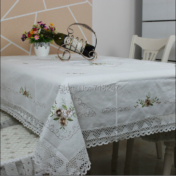Hot Sale Rectangle <font><b>Elegant</b></font> White Cotton / Linen Embroidery Lace Tablecloth Embroidered Table Cloth Cover <font><b>Home</b></font> <font><b>Decor</b></font> Textile 029