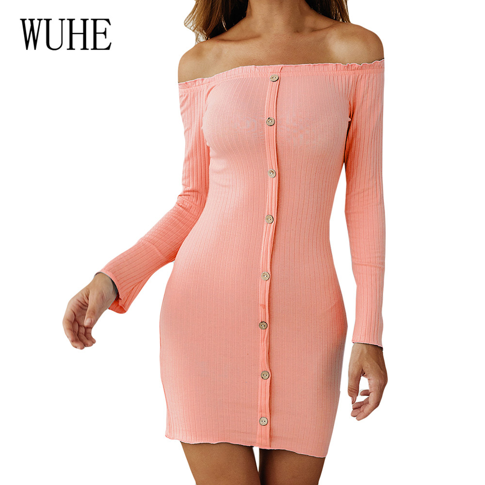 WUHE Off Shoulder Mini Bodycon Party Dress Sexy Hollow Out Long Sleeve Pencil Women Elegant High Quality Casual Vestidos