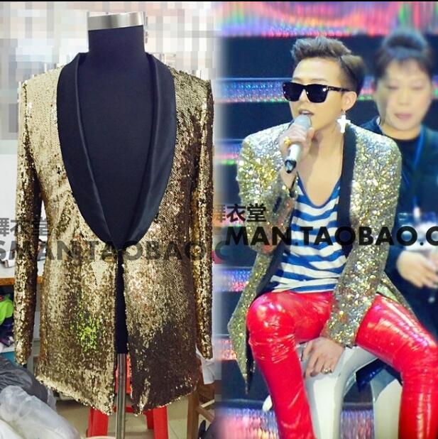 S-5XL 2020 New Men's Gold Color Gradient Glitter Suit Blazers Coat Formal Singer Costumes Clothing Men Suits Two-piece Suit