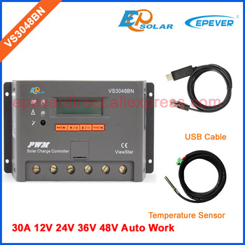 PWM EPEVER Free shipping 30A 30amp VS3048BN 12v/24v/36v/48v controller for solar panel system use with USB cable and sensor